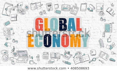 Wereld economie witte doodle stijl iconen Stockfoto © tashatuvango