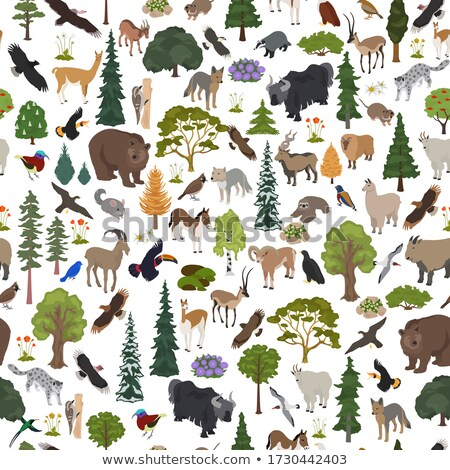 World map with animals and trees seamless pattern. Background ge Stock photo © popaukropa