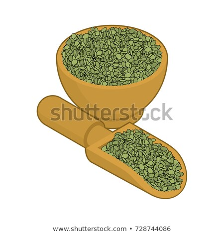 Green Lentils in wooden scoop isolated. Groats in wood shovel. G Stock photo © MaryValery