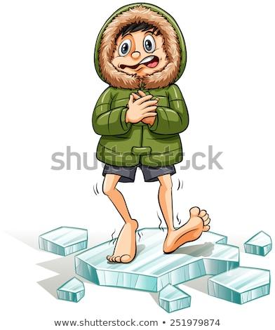 Man Idiom Cold Feet Illustration Stock photo © lenm