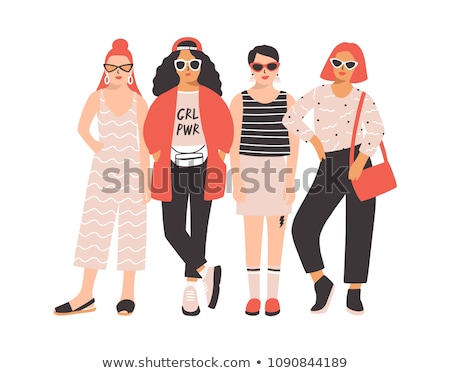 people hipster fashion style standing together stock photo © jossdiim