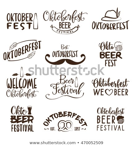 Oktoberfest poster vector illustration with typography letter, pretzel, sausage and falling autumn l Stock photo © articular