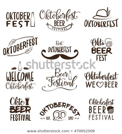 Октоберфест плакат типографики письме кренделек колбаса Сток-фото © articular