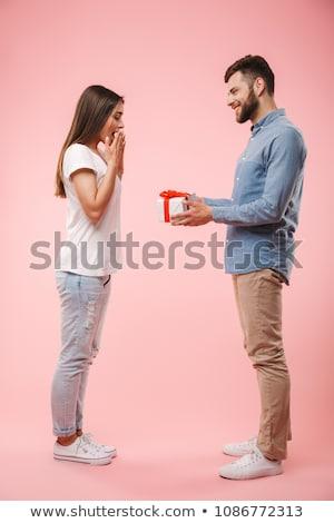 Jonge man aanwezig vriendin knap liefde gelukkig Stockfoto © boggy