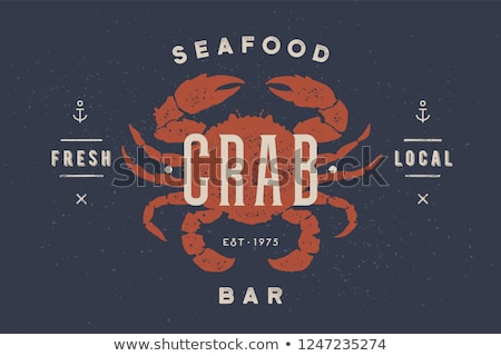 crab seafood vintage icon crab label logo print stockfoto © foxysgraphic
