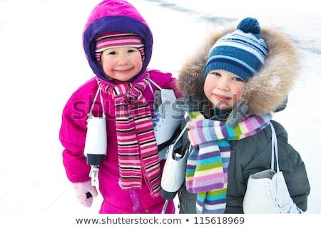 bonitinho · menino · temporada · de · inverno · fora · neve · família - foto stock © lopolo