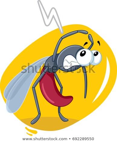 Durdurmak sivrisinek imzalamak maskot ikon örnek Stok fotoğraf © patrimonio