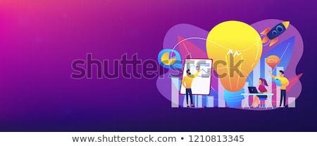 баннер · человека · месте · ноутбука - Сток-фото © rastudio