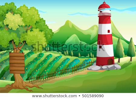 scene with lighthouse and farmyard stock photo © colematt