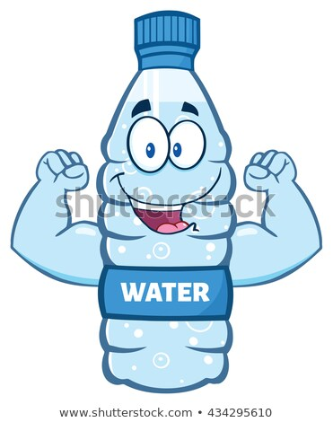 Cartoon Illustation Of A Water Plastic Bottle Mascot Character Holding A Water Glass.  Stock photo © hittoon