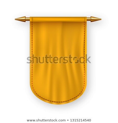 orange pennat flag vector advertising canvas banner hanging wall pennat heraldic 3d realistic iso stock photo © pikepicture
