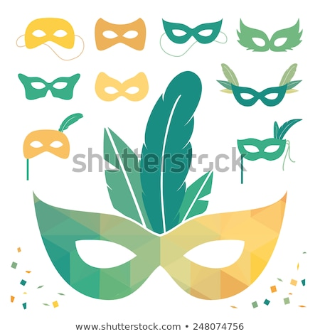 Maschera stilizzato facce viola giallo verde Foto d'archivio © blackmoon979