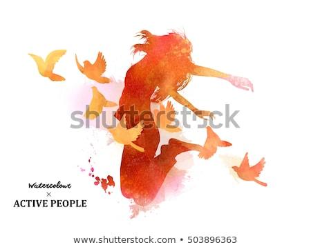 acrobatisch · paal · danser · silhouet · sexy · abstract - stockfoto © krisdog