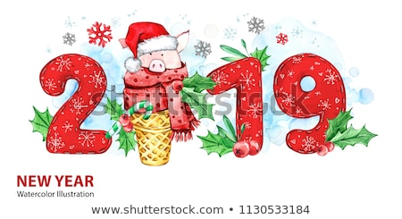 Happy New Year Holidays, Piglet in Santa Costume Stock photo © robuart