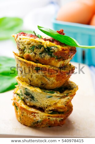 Breakfast muffins with egg and sausages.selective focus Stok fotoğraf © zoryanchik