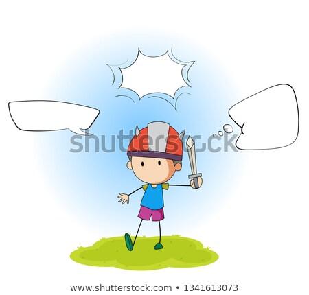 Nino jugando espada ilustración diseno Foto stock © colematt