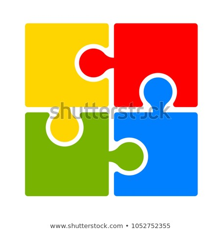Teamwork with Connecting Parts of Puzzle Vector Stock photo © robuart
