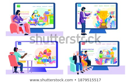 Sitting Workers with Laptop near Monitor Vector Stock photo © robuart