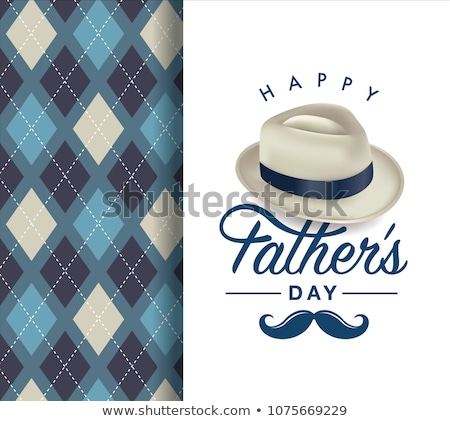 happy fathers day card design with hat Stock photo © SArts