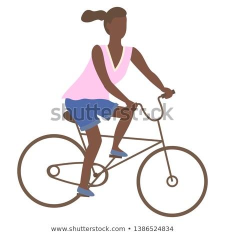 Vrouw paardrijden fiets tienermeisje fiets geïsoleerd Stockfoto © robuart