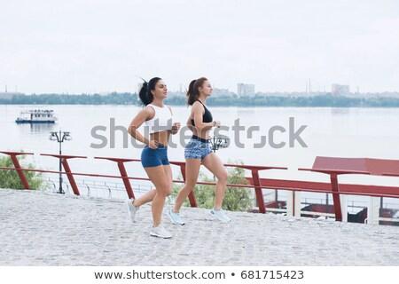 Manzara iki kadın koşucuların etkinlik açık havada Stok fotoğraf © boggy