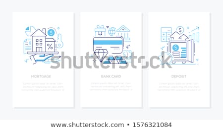 Zdjęcia stock: Banking Operation - Line Design Style Icons Set