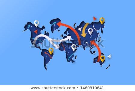 Mappa del mondo GPS viaggio arrow moderno icona Foto d'archivio © cienpies