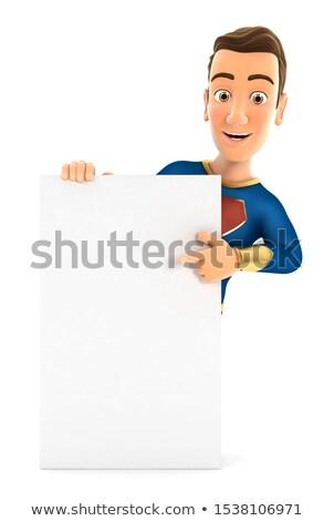 スーパーヒーロー · コーディング · 3次元の図 · コンピュータ · 男 · ノートパソコン - ストックフォト © 3dmask