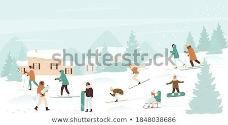 スノーボード スキー 女の子 漫画 実例 イラスト ストックフォト © izakowski