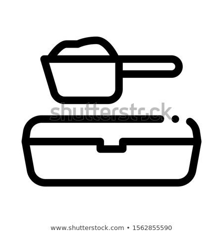 Zand dienblad schep icon vector schets Stockfoto © pikepicture