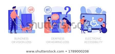 Mozgássérült emberek támogatás vektor metaforák fogyatékos Stock fotó © RAStudio
