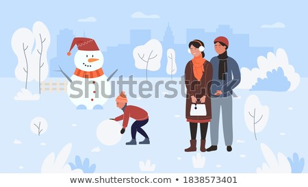 Families Spend Time Actively, Wintertime Holidays Stock photo © robuart