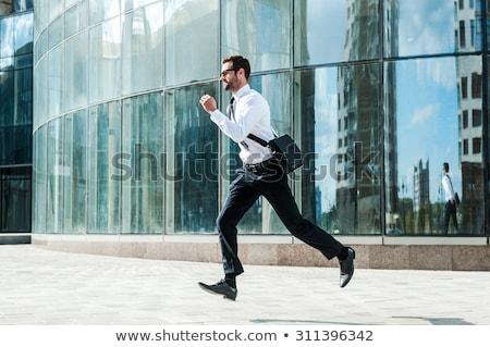 бизнесмен запустить вперед человека аннотация синий Сток-фото © ShustrikS