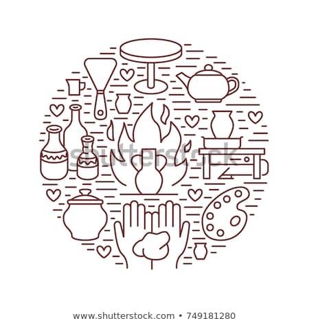 Aardewerk tools icon vector schets illustratie Stockfoto © pikepicture