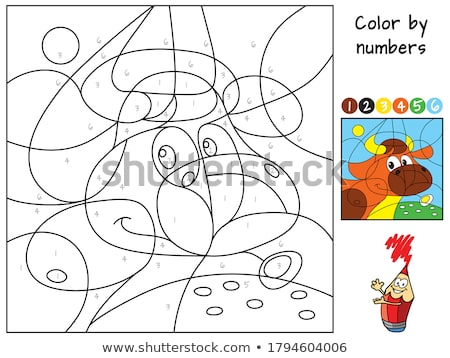 Educational children game. Color the picture by number. Coloring book with bird Stock photo © natali_brill