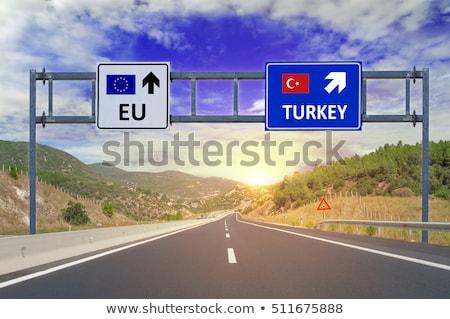 Turquia sinal da estrada verde nuvem rua assinar Foto stock © kbuntu