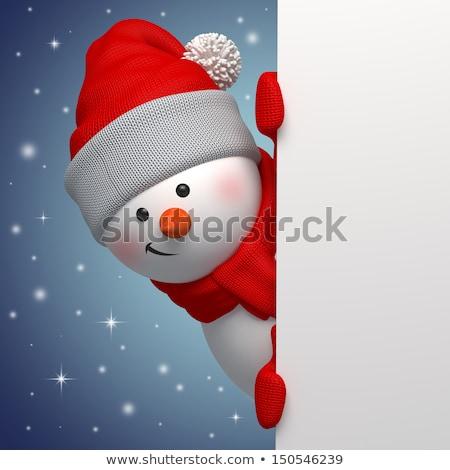 снеговик · 3D · Cute · белый · снега · зима - Сток-фото © dacasdo