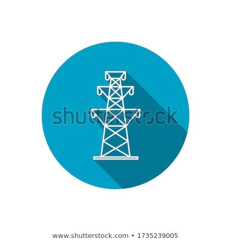 Nagyfeszültség vonalak kék ég égbolt technológia kék Stock fotó © bbbar