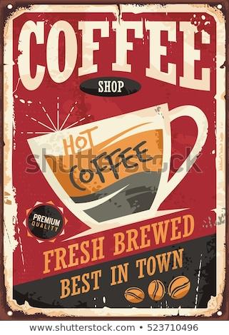 Starych plakat kawy restauracji pić tablicy Zdjęcia stock © Archipoch