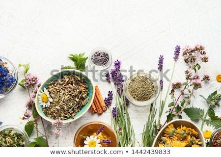 kuru · bitkisel · çaylar · ahşap · kaşık · ahşap · masa - stok fotoğraf © keko64