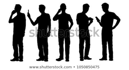 Silhouette uomo telefono tecnologia rete mobile Foto d'archivio © Slobelix