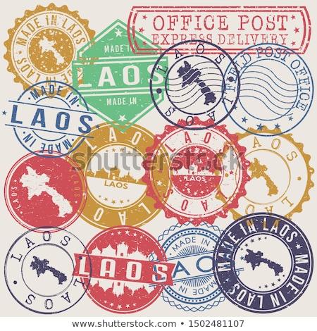 Mail Laos obraz pieczęć Pokaż banderą Zdjęcia stock © perysty