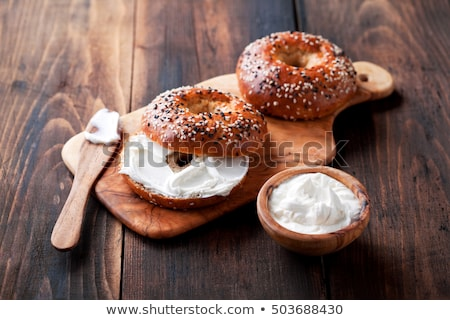 Closeup of Bagel and Cream Cheese