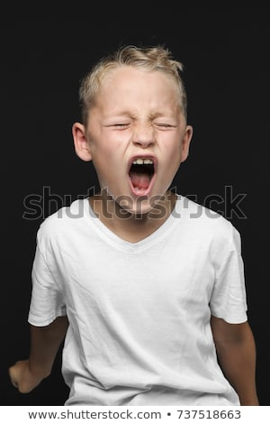 мало · мальчика · гнева · изолированный · белый - Сток-фото © wavebreak_media