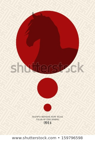 Chinese new year of the Horse red circle shape file. Stock photo © cienpies