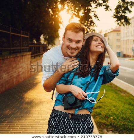 Stockfoto: Jonge · gelukkig · europese · paar · glimlachend