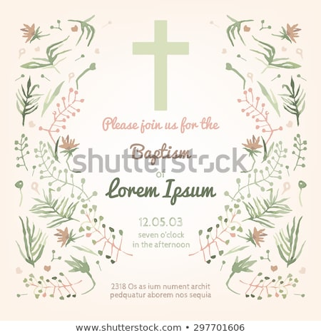cheerful flowers cross communion invitation card Stock photo © marimorena