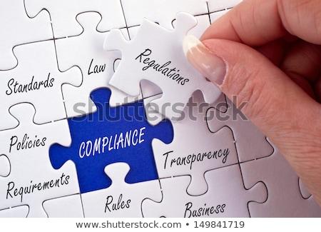 Betartás kék puzzle fehér üzlet törvény Stock fotó © tashatuvango