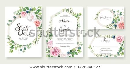 Serin şablon çerçeve dizayn tebrik kartı düğün Stok fotoğraf © balasoiu