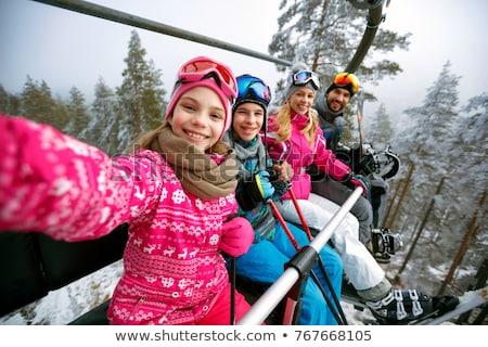Stockfoto: Jonge · familie · ski · vakantie · meisje · sport